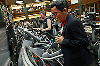"A Runner disguised as Mitt Romney takes part during the ""Run up to the Election"" at New York Sport Club Gym in New York, United States. 08/10/2012. The second 2012 Presidential debate at Hofstra University will take place on Thursday night. Photo by Kena Betancur / VIEWpress."