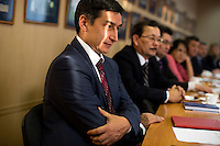 Boris Nikolaevich Melkoedov, head of the Ministry for Press and Mass Media of the Republic of Bashkortostan, meets with area journalists at the ministry's headquarters.