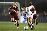 03 December 2010: Stanford's Christen Press (23) is chased by Boston College's Kate McCarthy (21) and Hannah Cerrone (11). The Stanford University Cardinal defeated the Boston College Eagles 2-0 at WakeMed Stadium in Cary, North Carolina in an NCAA Women's College Cup semifinal game.