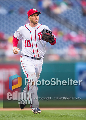 28 April 2016: Washington Nationals third baseman Stephen Drew returns to the dugout after getting the third out in the 5th inning against the Philadelphia Phillies at Nationals Park in Washington, DC. The Phillies shut out the Nationals 3-0 to sweep their mid-week, 3-game series. Mandatory Credit: Ed Wolfstein Photo *** RAW (NEF) Image File Available ***