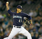 Seattle Mariners' reliever Brandon League throws against the Baltimore Orioles at SAFECO Field in Seattle April 19, 2010. The  Mariners beat the Orioles 8-2. Jim Bryant Photo. ©2010. ALL RIGHTS RESERVED.