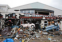 Sendai, Japan - A photo made available on April 11 shows cars piled up at Nakano Elementary School which was completely destroyed by the devastating March 11 earthquake and tsunami that rocked the northern part of Japan. (Photo by Christopher Jue/AFLO) [2331] **ITALY OUT**