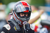 Jul 9, 2016; Joliet, IL, USA; NHRA top fuel driver Steve Torrence during qualifying for the Route 66 Nationals at Route 66 Raceway. Mandatory Credit: Mark J. Rebilas-USA TODAY Sports