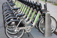 A few of the bicycles of the New Balance Hubway Bike Sharing system launched in Boston, Massachusetts on July 28, 2011.