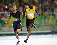 Jamaica's Usain Bolt (right) crosses the finish line to win the Men's 200m Final during the athletics event at the Rio 2016 Olympic Games at the Olympic Stadium in Rio de Janeiro on August 18, 2016. <br /> CAP/CAM<br /> &copy;CAM/Capital Pictures /MediaPunch ***NORTH AND SOUTH AMERICAS ONLY***
