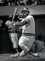 Oakland A's slugger Reggie Jackson swinging. 1973 (photo copyright Ron Riesterer)