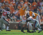 Tennessee quarterback Tyler Bray (8) is sacked by Ole Miss defensive end Jason Jones (53) in a college football game at Neyland Stadium in Knoxville, Tenn. on Saturday, November 13, 2010. Tennessee won 52-14.