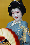 Geisha wearing kimono is Tokyo Japan.  Photographer: Robert Gilhooly