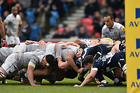 A general view of a scrum. Aviva Premiership match, between Sale Sharks and Bath Rugby on May 6, 2017 at the AJ Bell Stadium in Manchester, England. Photo by: Patrick Khachfe / Onside Images
