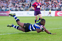 Levi Davis of Bath United dives for the try line. Remembrance Rugby match, between Bath United and the UK Armed Forces on May 10, 2017 at the Recreation Ground in Bath, England. Photo by: Patrick Khachfe / Onside Images