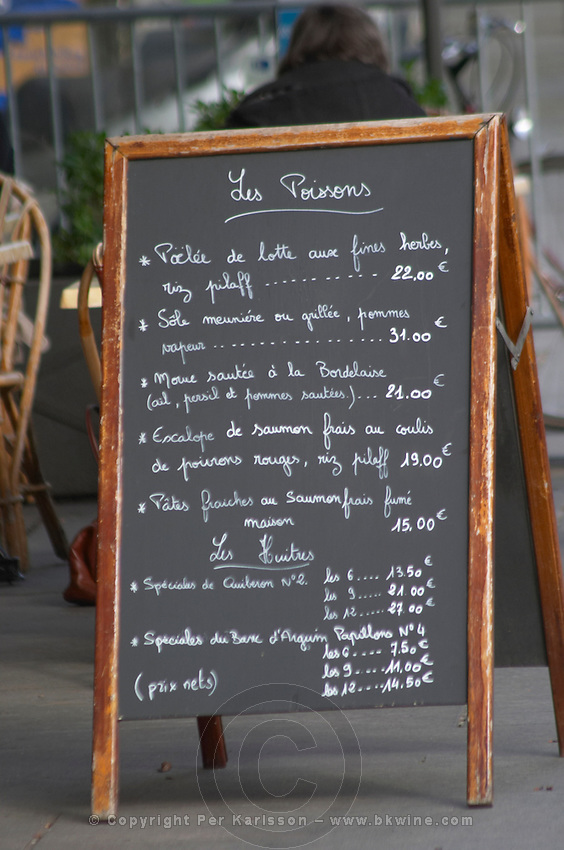 Restaurant sign. Bordeaux city, Aquitaine, Gironde, France