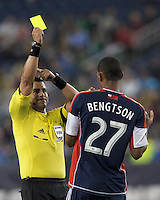 Yellow Card: New England Revolution substitute forward Jerry Bengtson (27). Referee Ricardo Salazar. In a Major League Soccer (MLS) match, the New England Revolution (blue) tied New York Red Bulls (white), 1-1, at Gillette Stadium on May 11, 2013.