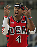 8/28/04 --Al Diaz/Miami Herald/KRT--Athens, Greece--Lituania vs USA during the Athens 2004 Olympic Games at Olympic Indoor Hall. USA wins the Bronze Medal defeating LTU 96-104. USA's Allen Iverson jestures to an official for not making a call.