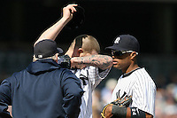 09/19/11 Bronx, NY: New York Yankees starting pitcher A.J. Burnett #34 during an MLB game played at Yankee Stadium between the Minnesota Twins and the New York Yankees. The Yankees defeated the Twins 6-4.
