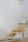 People enjoy the scenery and geological features of Yellowstone National Park.
