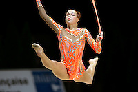 Natalya Godunko of Ukraine split leaps with rope (head-on view) during All-Around competition at 2006 Thiais Grand Prix in Paris, France on March 25, 2006.  (Photo by Tom Theobald)
