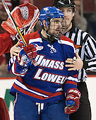 Ryan McGrath (UML - 10) - The visiting University of Massachusetts Lowell River Hawks defeated the Boston University Terriers 3-0 on Friday, February 22, 2013, at Agganis Arena in Boston, Massachusetts.