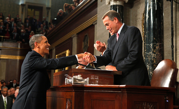 Speaker of the House John Boehner shakes hands with .President Barack Obama before Obama addressed a joint session of the United States Congress on the subject of job creation on Capitol Hill in Washington, September 8, 2011.        REUTERS/Kevin Lamarque (UNITED STATES  - Tags: POLITICS BUSINESS)