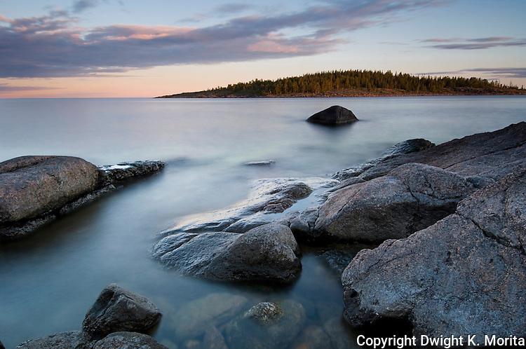 Dusk at the Rotsidan on the Baltic coast near Nordingra, Sweden.  Part of the UENSCO World Heritage Site of the Hight Coast (Höga Kusten), Sweden