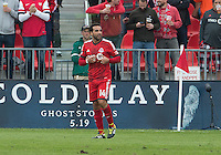 Toronto, Ontario - April 12, 2014: Toronto FC midfielder Dwayne De Rosario #14 signals to the bench to be substituted during the 2nd half in a game between the Colorado Rapids and Toronto FC at BMO Field in Toronto.<br /> Colorado Rapids won 1-0.