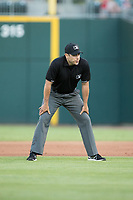 Second base umpire Mike Wiseman during the International League game between the Norfolk Tides and the Charlotte Knights at BB&T BallPark on May 2, 2017 in Charlotte, North Carolina.  The Knights defeated the Tides 8-3.  (Brian Westerholt/Four Seam Images)
