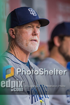 23 July 2016: San Diego Padres bench coach Mark McGwire watches play from the dugout during a game against the Washington Nationals at Nationals Park in Washington, DC. The Nationals defeated the Padres 3-2 to tie their series at one game apiece. Mandatory Credit: Ed Wolfstein Photo *** RAW (NEF) Image File Available ***