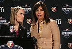 13 January 2012: Jennifer O'Sullivan, WPS Chief Executive Officer (left) with Kristina Hentschel, WPS Chief Financial Officer (right). Women's Professional Soccer held the 2012 WPS Draft at the Kansas City Convention Center in Kansas City, MO.