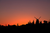 The Moses Montefiore windmill at Yemin Moshe at sunset.