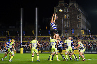 Charlie Ewels of Bath Rugby rises high to win lineout ball. Aviva Premiership match, between Bath Rugby and Sale Sharks on October 7, 2016 at the Recreation Ground in Bath, England. Photo by: Patrick Khachfe / Onside Images