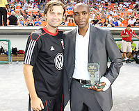 Eddie Pope with Carey Talley #8 of D.C. United during an MLS match against the Los Angeles Galaxy at RFK Stadium on July 18 2010, in Washington D.C. Galaxy won 2-1.