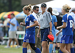 23 September 2007: Duke assistant coach Carla Overbeck (in gray). The Duke University Blue Devils defeated the Ohio State University Buckeyes 2-1 at Koskinen Stadium in Durham, North Carolina in an NCAA Division I Women's Soccer game, and part of the annual Duke Adidas Classic tournament.