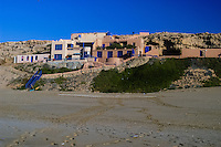 Buildings on the beach. The Souss-Massa National Park on the Atlantic coast of Morocco was established in 1991.