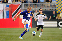 Phil Neville (18) of Everton FC. The Philadelphia Union defeated Everton FC 1-0 during an international friendly at PPL Park in Chester, PA, on July 20, 2011.
