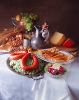 Dutch Painting - Sausage - Pancakes with fruit & chees in background