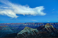 VIEW FROM CAPE ROYAL, NORTH RIM, GRAND CANYON, ARIZONA,  CLOUD, DUSK