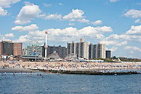The shore and amusement park cityscape of Coney Island New York