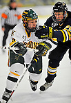 15 February 2008: University of Vermont Catamounts' forward Wahsontiio Stacey, a Freshman from Kahnawake, Quebec, in action against the Merrimack College Warriors at Gutterson Fieldhouse in Burlington, Vermont. The Catamounts defeated the Warriors 4-1 in the first game of their 2-game weekend series...Mandatory Photo Credit: Ed Wolfstein Photo
