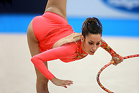 Almudena Cid of Spain balances with hoop during All Around final at  2008 European Championships at Torino, Italy on June 6, 2008.  Photo by Tom Theobald.
