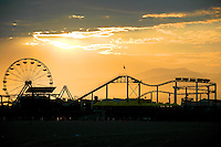 The sunsets over Santa Monica Pier on Monday, July 23, 2007.