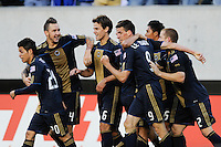 Sebastien Le Toux (9) of the Philadelphia Union  celebrates scoring the second goal of the game during a Major League Soccer (MLS) match against D. C. United at Lincoln Financial Field in Philadelphia, PA, on April 10, 2010.