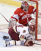 Kelli Stack (BC - 16), Kerrin Sperry (BU - 1) - The Boston College Eagles defeated the Boston University Terriers 2-1 in the opening round of the Beanpot on Tuesday, February 8, 2011, at Conte Forum in Chestnut Hill, Massachusetts.