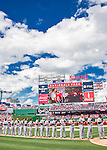 7 April 2016: A pair of Jet Fighters fly over the field as the visiting Miami Marlins honor America prior to the Washington Nationals' Home Opening Game at Nationals Park in Washington, DC. The Marlins defeated the Nationals 6-4 in their first meeting of the 2016 MLB season. Mandatory Credit: Ed Wolfstein Photo *** RAW (NEF) Image File Available ***