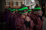 Dancers line-up before performing for the UK company Hunter perform a choreographed dance routine to officially launch the brand's flagship new store in London's Regent Street. Twenty Eight dancers stopped shoppers with their production of 'Singin' in the Rain.'