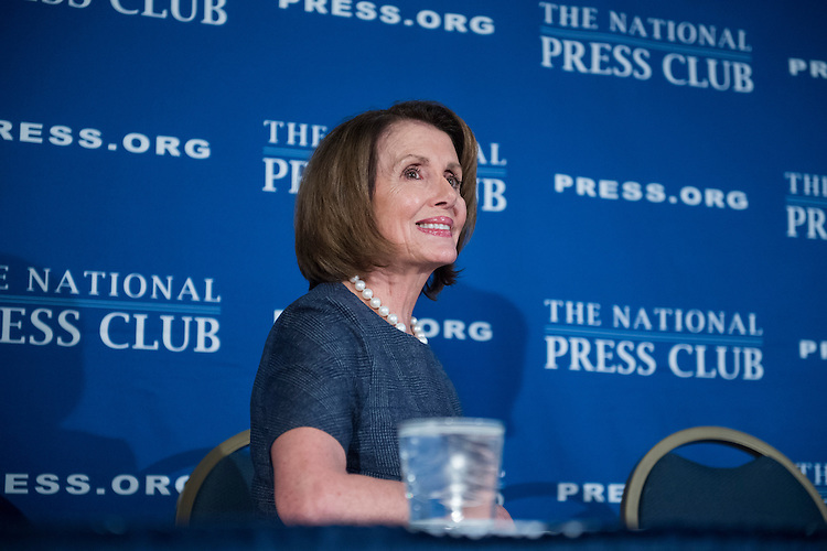 UNITED STATES - FEBRUARY 27: House Minority Leader Nancy Pelosi, D-Calif., and Senate Minority Leader Charles Schumer, D-N.Y., not pictured, deliver a prebuttal at the National Press Club to tomorrow's address to a joint session of Congress by President Donald Trump, February 27, 2017. (Photo By Tom Williams/CQ Roll Call)