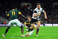 Luke Morahan of the Barbarians takes on the South Africa defence. Killik Cup International match, between the Barbarians and South Africa on November 5, 2016 at Wembley Stadium in London, England. Photo by: Patrick Khachfe / JMP