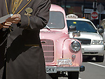 Antique taxi at the Langham Hotel in Boston, Massachusetts, USA