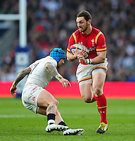 George North of Wales looks to take on Jack Nowell of England. RBS Six Nations match between England and Wales on March 12, 2016 at Twickenham Stadium in London, England. Photo by: Patrick Khachfe / Onside Images