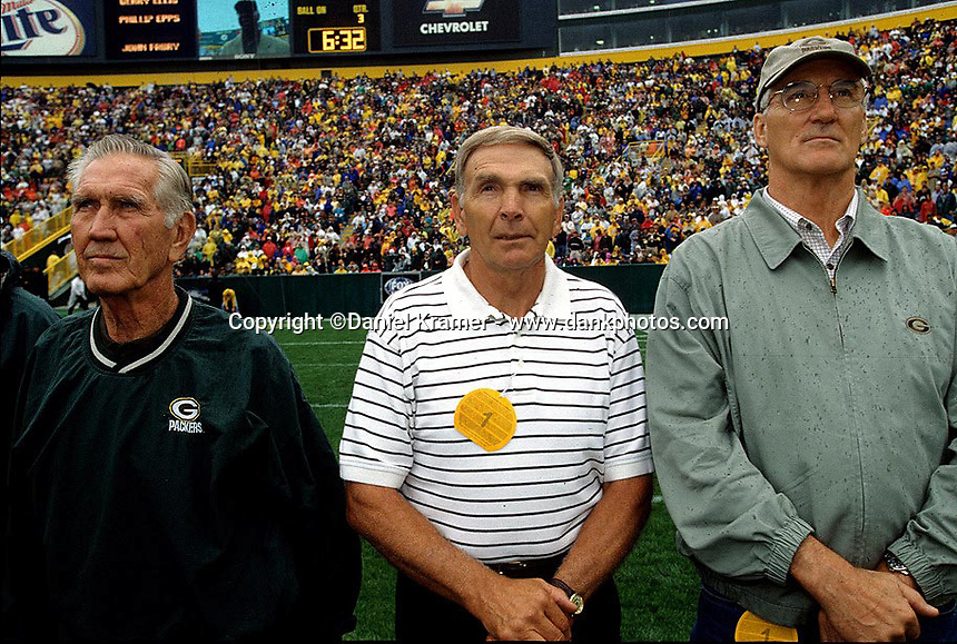 Former Packers Lou Carpenter, Carrol Dale and Boyd Dowler are introduced to the fans at Lambeau Field during the 2001 home opener against the Detroit Lions. Part of the Packers' commitment to the fans involves bringing back past Packers for an alumni appreciation day.