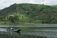 Lake Bunyoni, with terraced cultivation on the hillside behind.