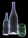 X-ray image of glass bottles and jar (color on black) by Jim Wehtje, specialist in x-ray art and design images.